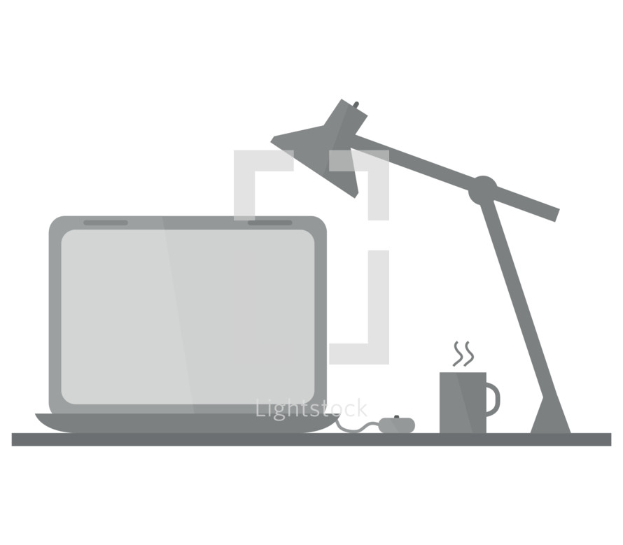 computer table and lamp