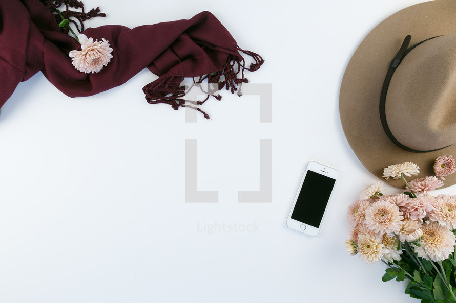 iphone, mums, chrysanthemums, pink, feminine, desk, table, white background, hat, scarf, maroon, pink, flowers