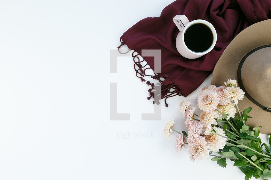 mums, hat, scarf, coffee mug, white background