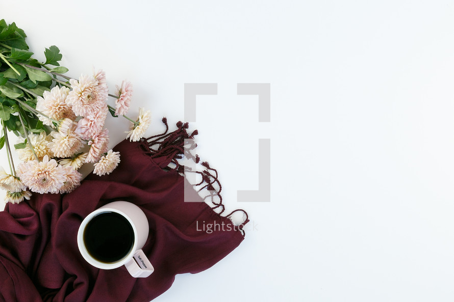 mums, scarf, and coffee mug