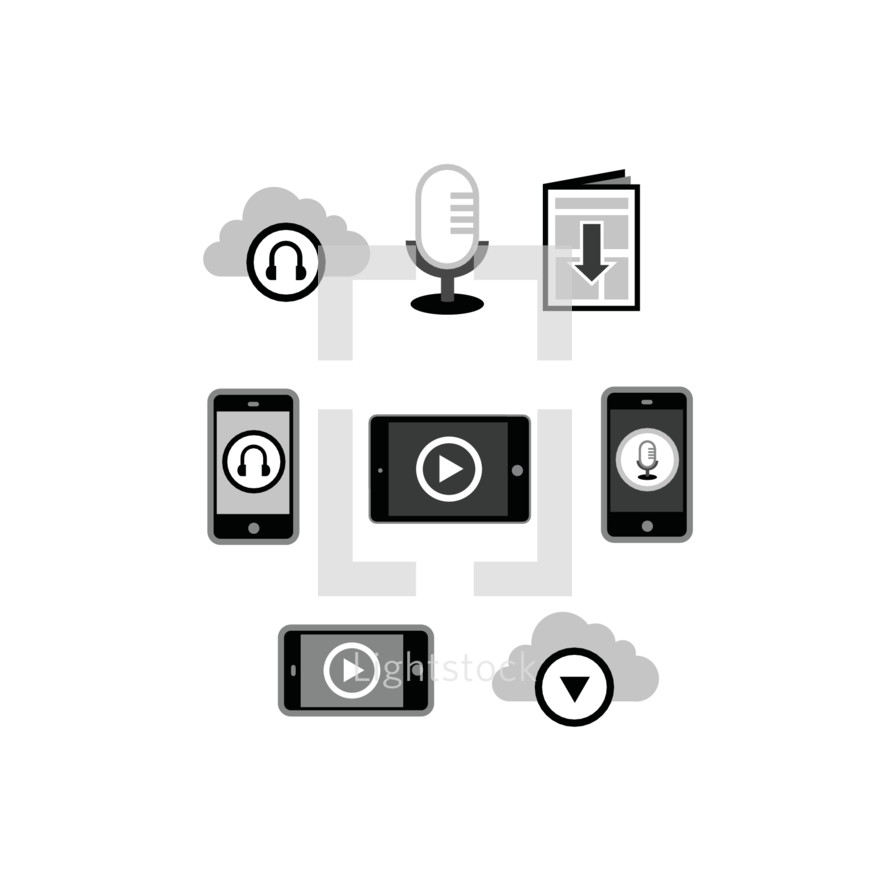 Church video and audio media icons