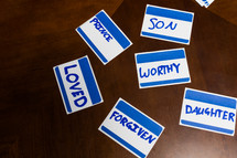 words on name badges