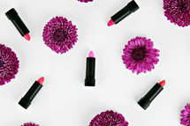 lipstick and purple mums