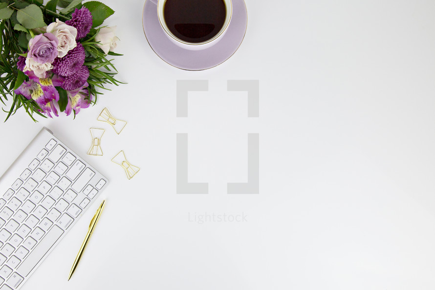 computer keyboard, gold pen, journal, flower, desk, white background, home office, blogger, paperclips