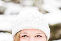eyes under a winter hat