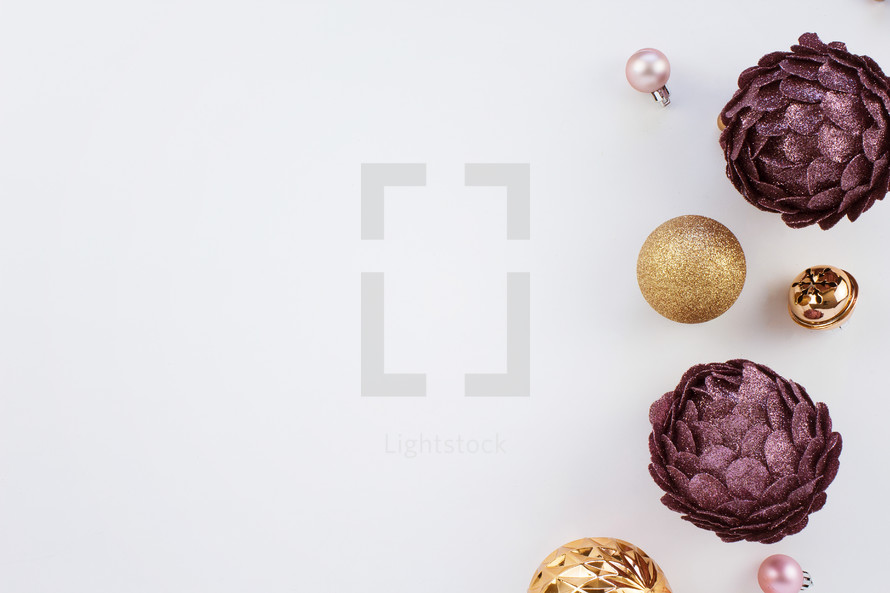 purple pink and gold christmas ornaments on white - White And Gold Christmas Ornaments
