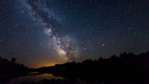 Milky way and French River, Canada Timelapse