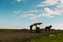 Man with horse and buggy on a dirt road.
