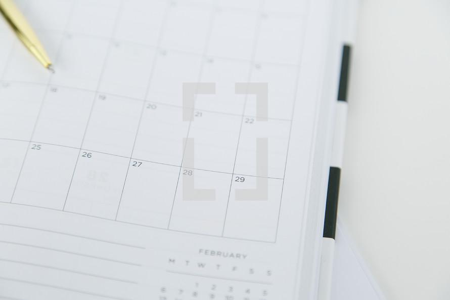 pen on a planner