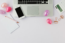 desk with Easter eggs