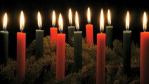 red, green, pine, garland, flames, Christmas, candles