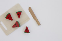 toy cutting board with watermelon