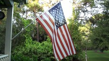 American Flag on a front porch