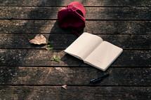 ball cap, open journal, and pen on a wood deck