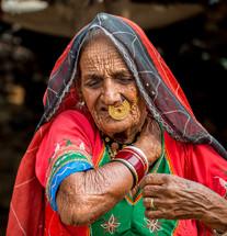 elderly woman in India