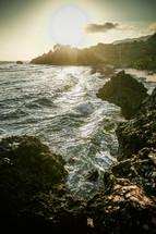 Waves upon a rocky coastline.