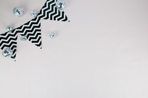 disco ball decor and chevron banner