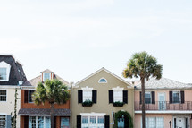 palm trees and row houses