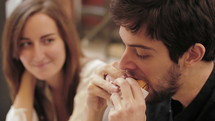 couple eating food on a date