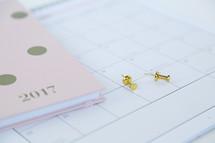 2017 planner, tacks, and calendar