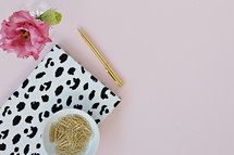 dalmatian spotted notebook, gold pen, paperclips