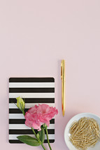 pink carnation, striped journal, paperclips, and pen