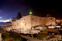 The southwestern corner of the Temple Mount at night.