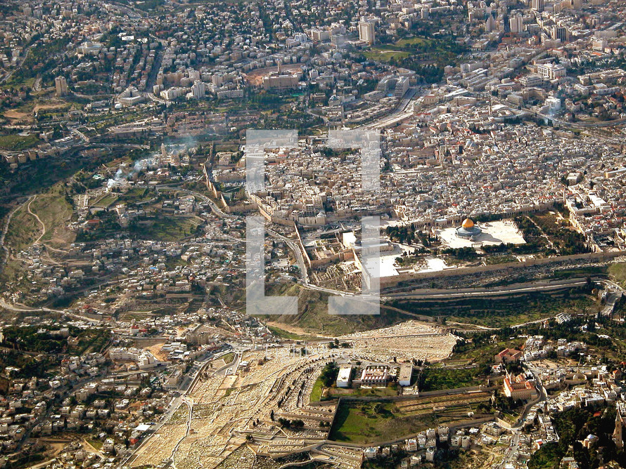 Aerial view of a Temple Mount and the City of David from the east.