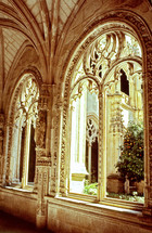 cloister arches southern Europe bright warm at Christmas