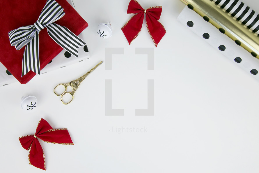 Christmas gift, bows, bells, gold, red, bells, polka dot, wrapping paper, scissors
