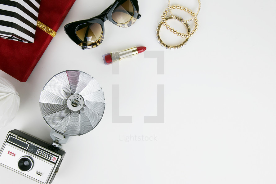 vintage camera, makeup, and Christmas gift