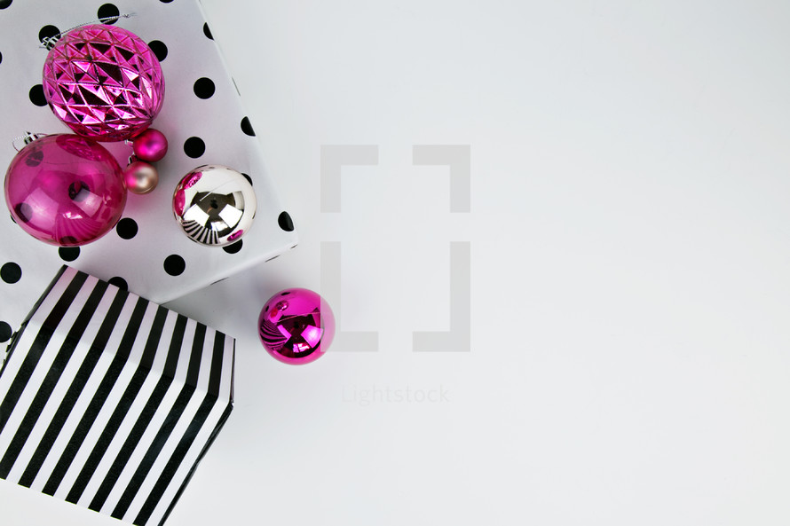 ornaments, pink, black and white, polka dots, wrapping paper, gift, present, Christmas