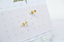 tacks in a calendar