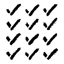 Check mark signs created with a brush and black ink. Graphic element for design saved as an vector illustration in file format EPS