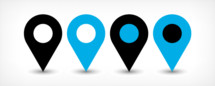 GPS pin point. Map pin sign location icon with shadow in flat style. Graphic element for design saved as an vector illustration in file format EPS
