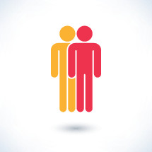 People icon. Colored two human figures with gray drop shadow isolated on white background in simple flat style. Graphic element for design saved as an vector illustration in file format EPS