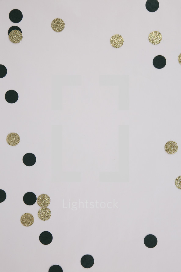 black and gold confetti frame on white background