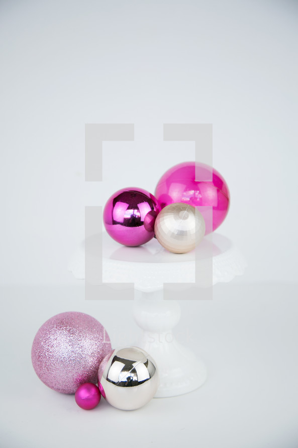 pink, fuchsia, gold, silver, Christmas ornaments