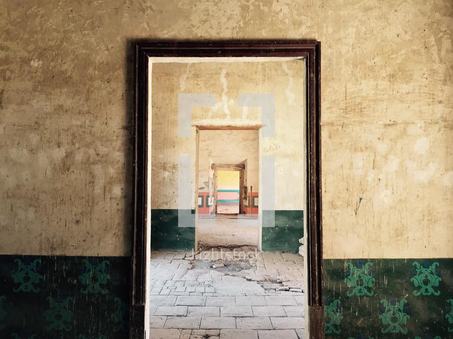 tunneling doorways in an empty room