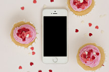 Valentine's day background with cellphone
