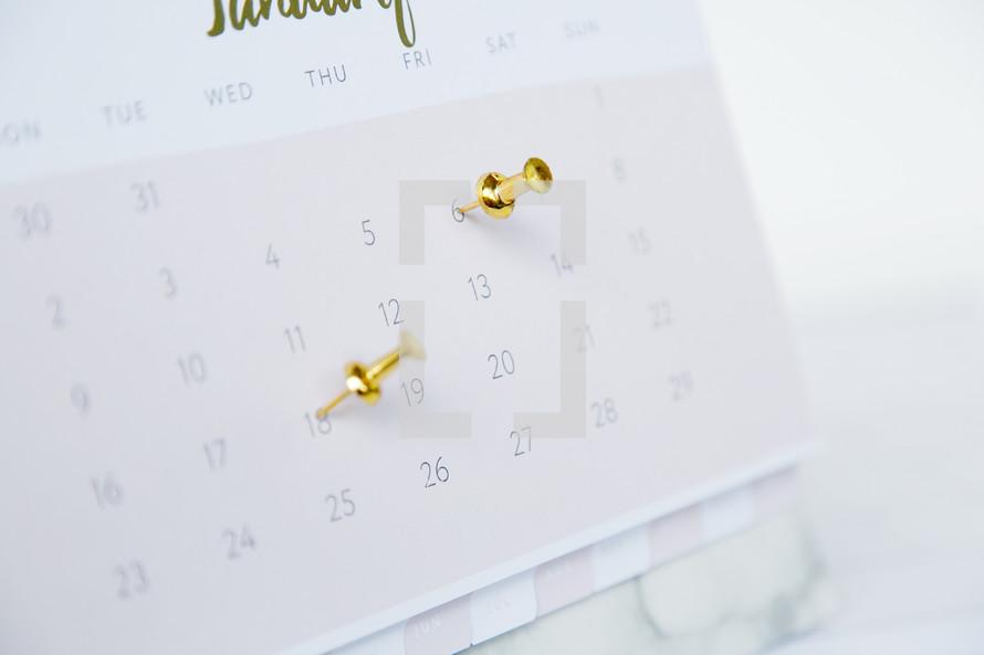 tacks in a calendar