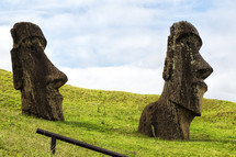 in chile rapa nui the antique and mysteriuos muai statue symbol of an ancien culture