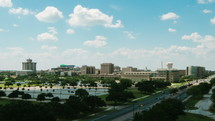 Timelapse of clouds over and traffic surrounding Texas A&M University campus.