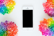 rainbow flowers and cellphone