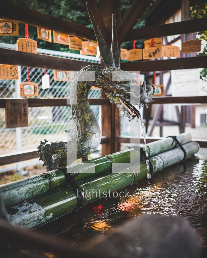 dragon and bamboo fountain
