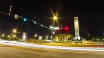 Timelapse of traffic moving in front of Albritton Bell Tower at Texas A&M University.