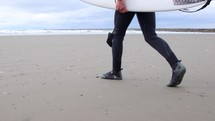 surfer walking on a beach with a surfboard