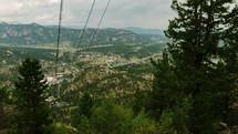 zip lining down a mountain