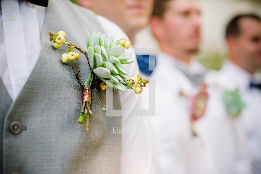 boutonnières on groomsmen