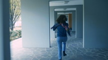 person running down a hallway